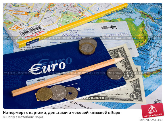 Натюрморт с картами, деньгами и чековой книжкой в Евро, фото № 251339, снято 24 мая 2017 г. (c) Harry / Фотобанк Лори