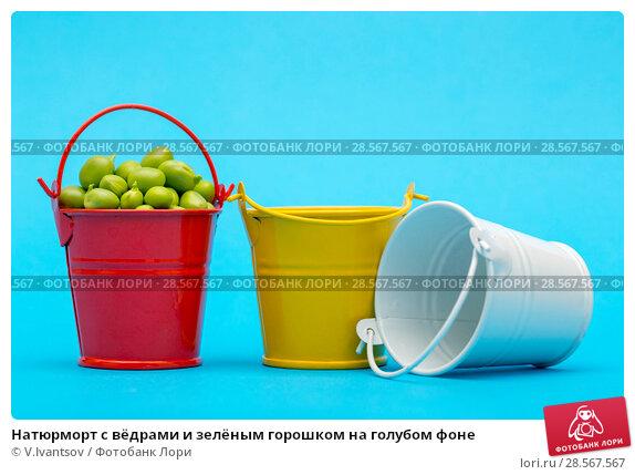 Купить «Натюрморт с вёдрами и зелёным горошком на голубом фоне», фото № 28567567, снято 4 июня 2018 г. (c) V.Ivantsov / Фотобанк Лори