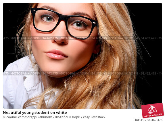 Neautiful young student on white. Стоковое фото, фотограф Zoonar.com/Sergejs Rahunoks / easy Fotostock / Фотобанк Лори