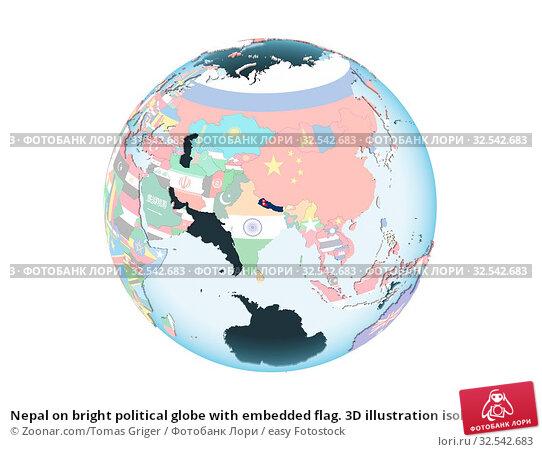 Купить «Nepal on bright political globe with embedded flag. 3D illustration isolated on white background.», фото № 32542683, снято 10 декабря 2019 г. (c) easy Fotostock / Фотобанк Лори