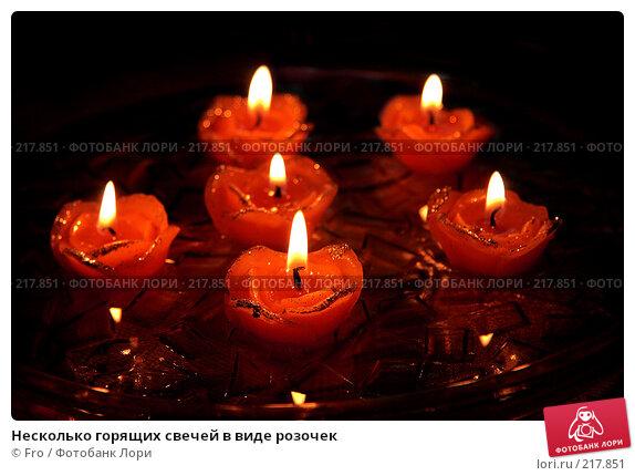 Несколько горящих свечей в виде розочек, фото № 217851, снято 31 декабря 2007 г. (c) Fro / Фотобанк Лори