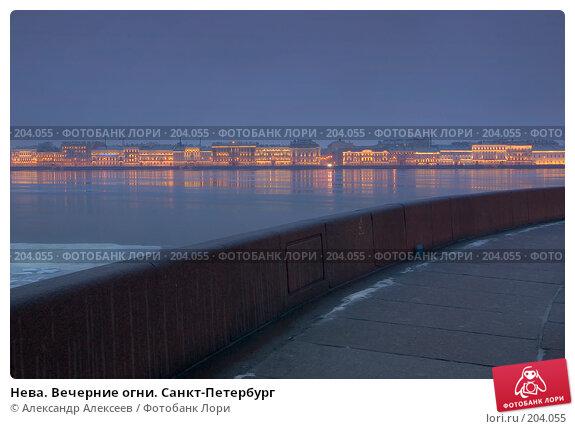 Нева. Вечерние огни. Санкт-Петербург, эксклюзивное фото № 204055, снято 7 февраля 2008 г. (c) Александр Алексеев / Фотобанк Лори