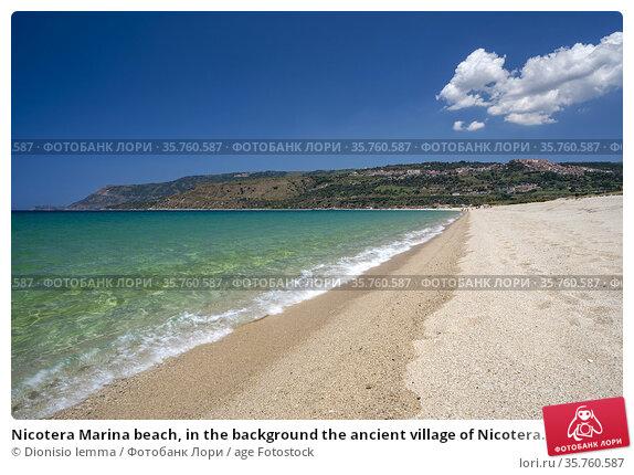 Nicotera Marina beach, in the background the ancient village of Nicotera... Стоковое фото, фотограф Dionisio Iemma / age Fotostock / Фотобанк Лори