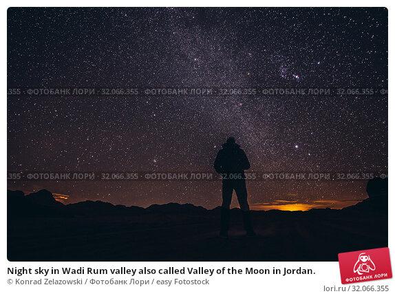 Night sky in Wadi Rum valley also called Valley of the Moon in Jordan. Стоковое фото, фотограф Konrad Zelazowski / easy Fotostock / Фотобанк Лори