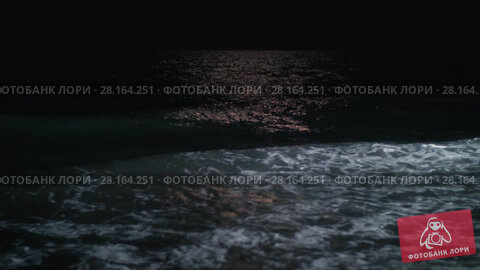 Купить «Night waterscape with waving sea rolling in on the shore», видеоролик № 28164251, снято 28 февраля 2018 г. (c) Данил Руденко / Фотобанк Лори