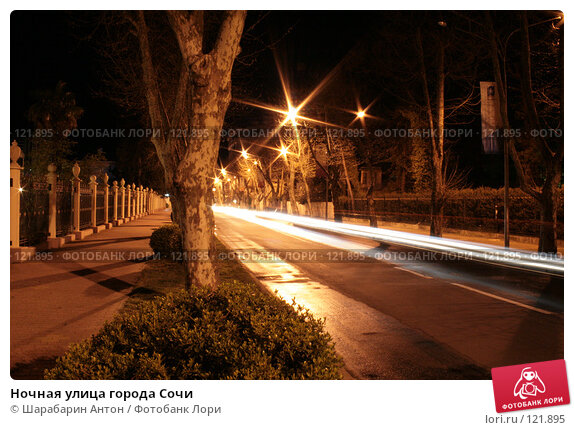 Ночная улица города Сочи, фото № 121895, снято 22 апреля 2007 г. (c) Шарабарин Антон / Фотобанк Лори