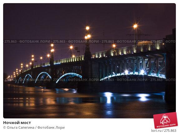 Ночной мост, фото № 275863, снято 28 февраля 2008 г. (c) Ольга Сапегина / Фотобанк Лори
