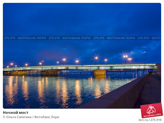Ночной мост, фото № 275919, снято 18 марта 2008 г. (c) Ольга Сапегина / Фотобанк Лори