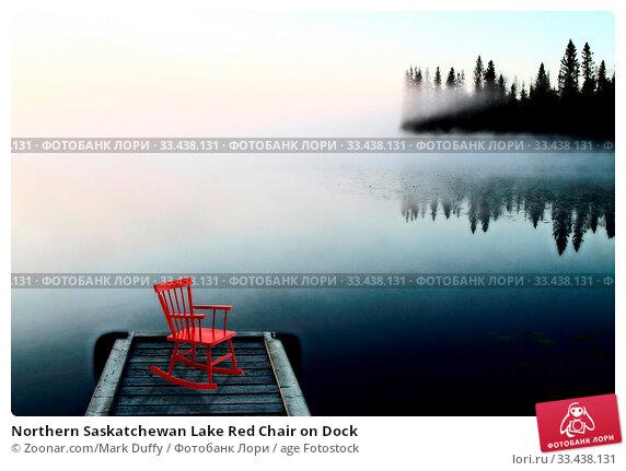 Купить «Northern Saskatchewan Lake Red Chair on Dock», фото № 33438131, снято 10 апреля 2020 г. (c) age Fotostock / Фотобанк Лори