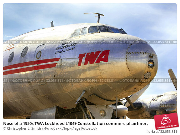 Nose of a 1950s TWA Lockheed L1049 Constellation commercial airliner. Стоковое фото, фотограф Christopher L. Smith / age Fotostock / Фотобанк Лори