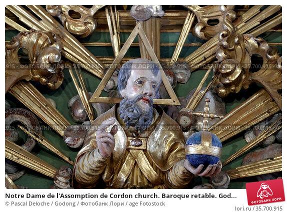 Notre Dame de l'Assomption de Cordon church. Baroque retable. God... Стоковое фото, фотограф Pascal Deloche / Godong / age Fotostock / Фотобанк Лори