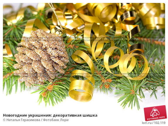 Новогодние украшения: декоративная шишка, фото № 102119, снято 23 октября 2016 г. (c) Наталья Герасимова / Фотобанк Лори