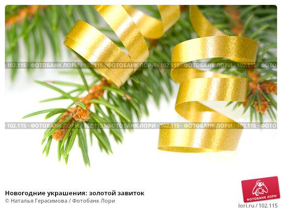 Новогодние украшения: золотой завиток, фото № 102115, снято 1 марта 2017 г. (c) Наталья Герасимова / Фотобанк Лори