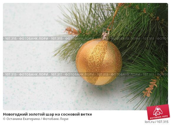 Новогодний золотой шар на сосновой ветке, фото № 107315, снято 31 октября 2007 г. (c) Останина Екатерина / Фотобанк Лори