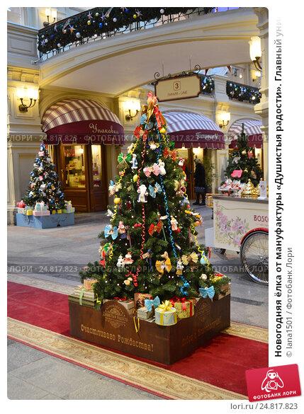 Купить «Новогодняя ёлка от мануфактуры «Душистыя радости». Главный универсальный магазин (ГУМ). Москва», эксклюзивное фото № 24817823, снято 30 ноября 2016 г. (c) lana1501 / Фотобанк Лори