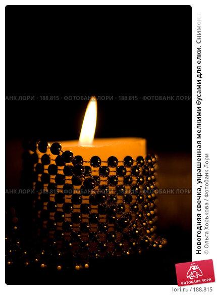 Новогодняя свечка, украшенная мелкими бусами для елки. Снимок в низком ключе., фото № 188815, снято 20 декабря 2007 г. (c) Ольга Хорькова / Фотобанк Лори