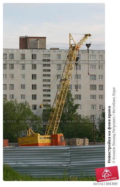 Новостройка на фоне крана, фото № 304899, снято 27 мая 2008 г. (c) Коннов Леонид Петрович / Фотобанк Лори