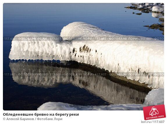 Обледеневшее бревно на берегу реки, фото № 117607, снято 11 ноября 2007 г. (c) Алексей Баринов / Фотобанк Лори