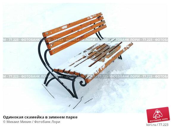 Купить «Одинокая скамейка в зимнем парке», фото № 77223, снято 22 апреля 2018 г. (c) Михаил Михин / Фотобанк Лори