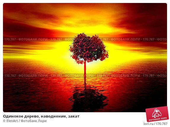 Одинокое дерево, наводнение, закат, иллюстрация № 170787 (c) ElenArt / Фотобанк Лори