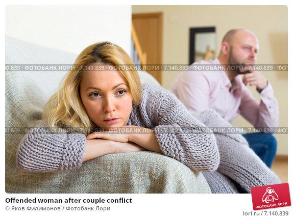 Купить «Offended woman after couple conflict», фото № 7140839, снято 7 мая 2019 г. (c) Яков Филимонов / Фотобанк Лори