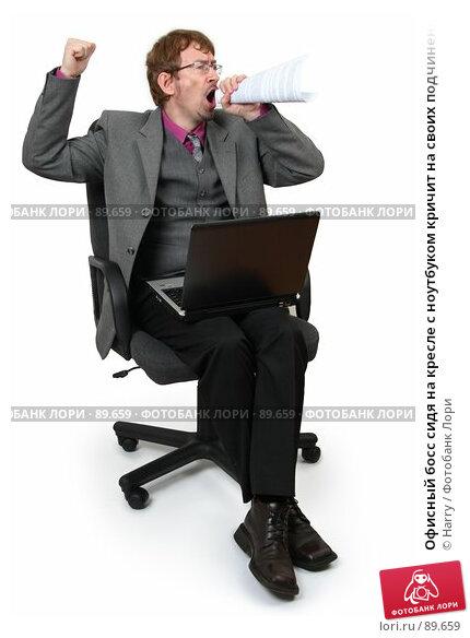 Купить «Офисный босс сидя на кресле с ноутбуком кричит на своих подчиненных», фото № 89659, снято 21 июня 2007 г. (c) Harry / Фотобанк Лори
