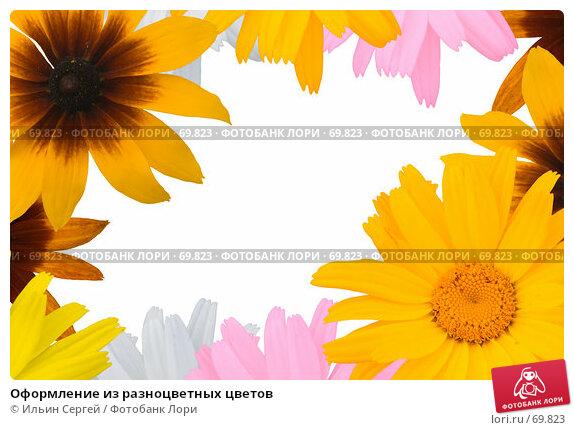 Купить «Оформление из разноцветных цветов», фото № 69823, снято 24 апреля 2018 г. (c) Ильин Сергей / Фотобанк Лори
