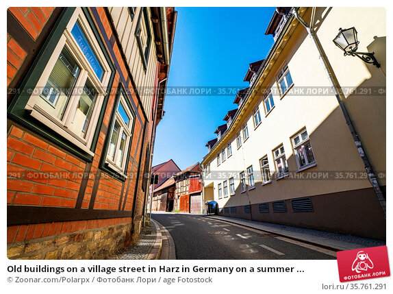 Old buildings on a village street in Harz in Germany on a summer ... Стоковое фото, фотограф Zoonar.com/Polarpx / age Fotostock / Фотобанк Лори