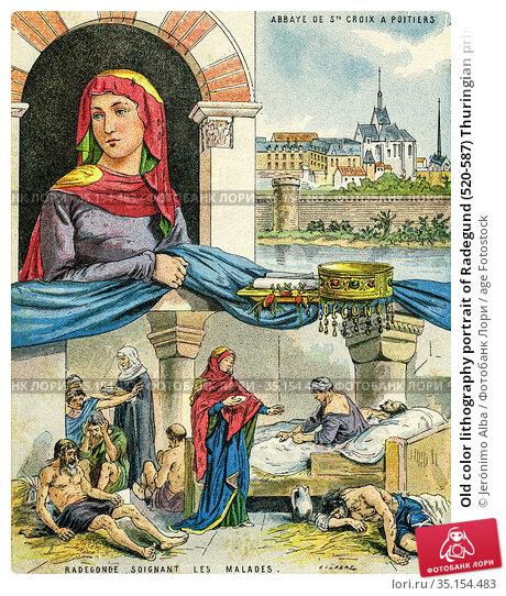 Old color lithography portrait of Radegund (520-587) Thuringian princess... Стоковое фото, фотограф Jerónimo Alba / age Fotostock / Фотобанк Лори