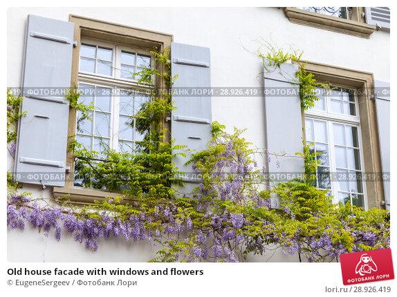Купить «Old house facade with windows and flowers», фото № 28926419, снято 7 мая 2017 г. (c) EugeneSergeev / Фотобанк Лори