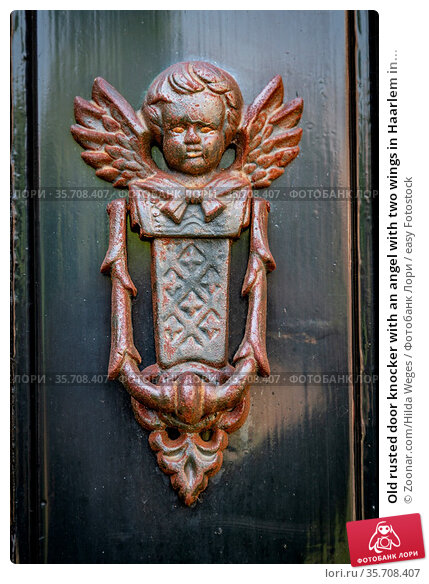 Old rusted door knocker with an angel with two wings in Haarlem in... Стоковое фото, фотограф Zoonar.com/Hilda Weges / easy Fotostock / Фотобанк Лори