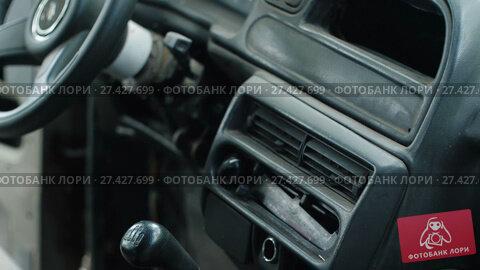 Купить «Old Used Car Interior», видеоролик № 27427699, снято 14 декабря 2017 г. (c) Илья Шаматура / Фотобанк Лори
