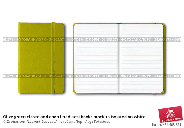 Olive green closed and open lined notebooks mockup isolated on white. Стоковое фото, фотограф Zoonar.com/Laurent Davoust / age Fotostock / Фотобанк Лори