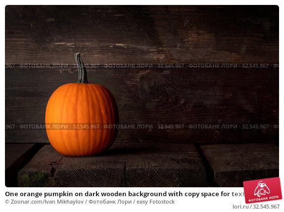 Купить «One orange pumpkin on dark wooden background with copy space for text , Halloween concept», фото № 32545967, снято 7 декабря 2019 г. (c) easy Fotostock / Фотобанк Лори