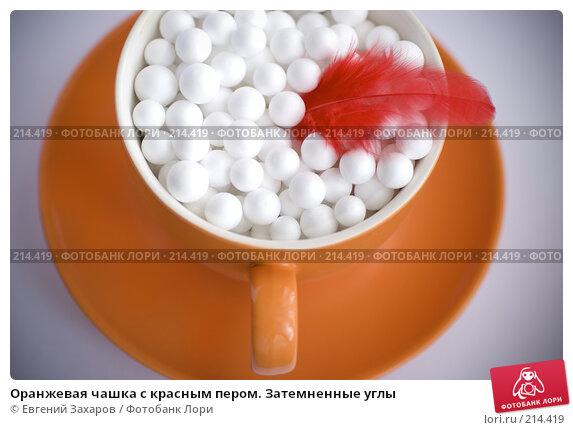 Оранжевая чашка с красным пером. Затемненные углы, фото № 214419, снято 1 марта 2008 г. (c) Евгений Захаров / Фотобанк Лори