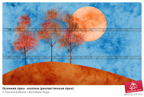 Купить «Осенняя луна - коллаж (реалистичная луна)», иллюстрация № 17111 (c) Tamara Kulikova / Фотобанк Лори