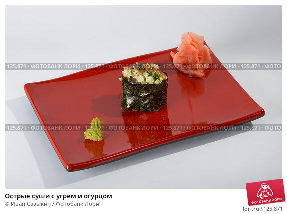 Купить «Острые суши с угрем и огурцом», фото № 125871, снято 14 декабря 2006 г. (c) Иван Сазыкин / Фотобанк Лори