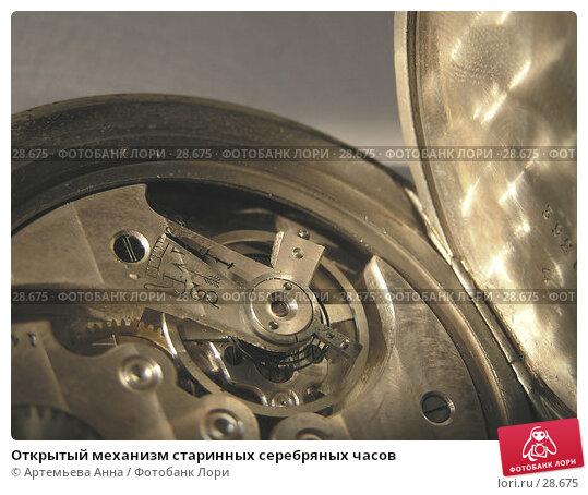 Открытый механизм старинных серебряных часов, фото № 28675, снято 23 октября 2016 г. (c) Артемьева Анна / Фотобанк Лори