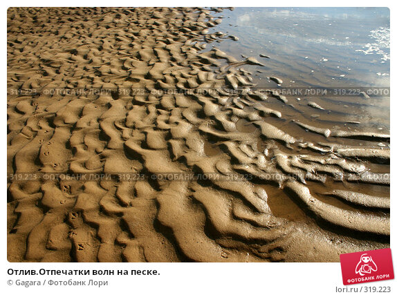 Отлив.Отпечатки волн на песке., фото № 319223, снято 29 мая 2017 г. (c) Gagara / Фотобанк Лори