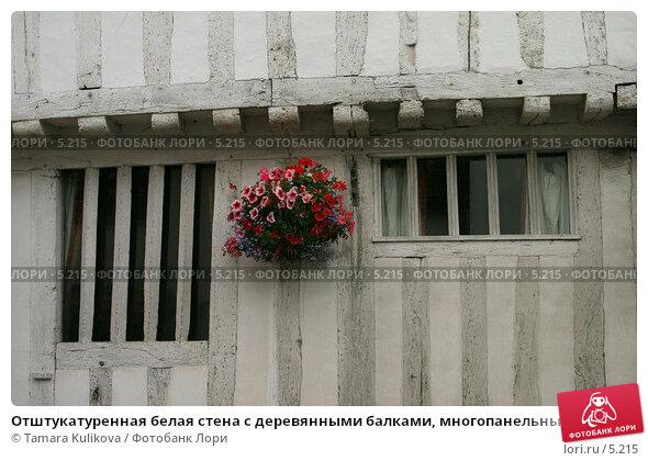 Отштукатуренная белая стена с деревянными балками, многопанельные окна, деревня Lavenham, Suffolk, Англия, фото № 5215, снято 9 июля 2006 г. (c) Tamara Kulikova / Фотобанк Лори