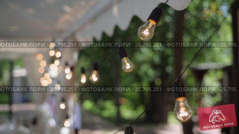 Купить «Outdoors garland party decoration», видеоролик № 25795251, снято 16 марта 2016 г. (c) Алексей Макаров / Фотобанк Лори