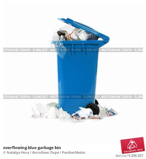 Купить «overflowing blue garbage bin», фото № 9296927, снято 21 февраля 2019 г. (c) PantherMedia / Фотобанк Лори