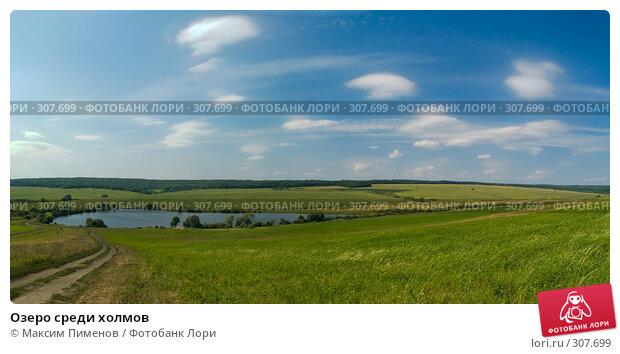 Озеро среди холмов, фото № 307699, снято 29 августа 2007 г. (c) Максим Пименов / Фотобанк Лори