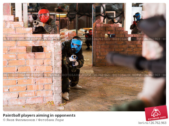 Купить «Paintball players aiming in opponents», фото № 26762963, снято 10 июля 2017 г. (c) Яков Филимонов / Фотобанк Лори
