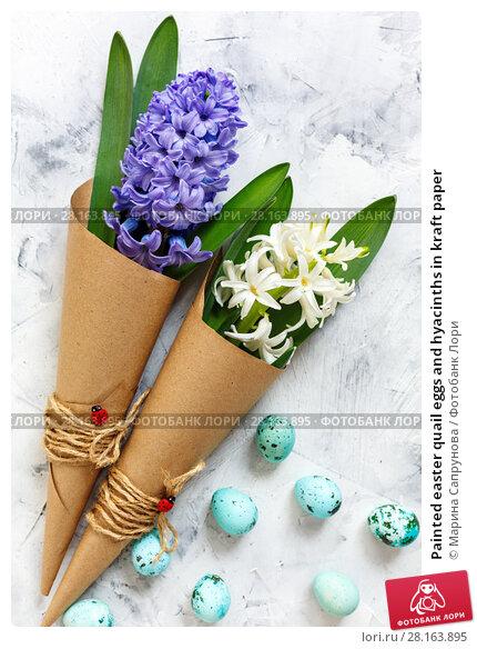 Купить «Painted easter quail eggs and hyacinths in kraft paper», фото № 28163895, снято 12 марта 2018 г. (c) Марина Сапрунова / Фотобанк Лори