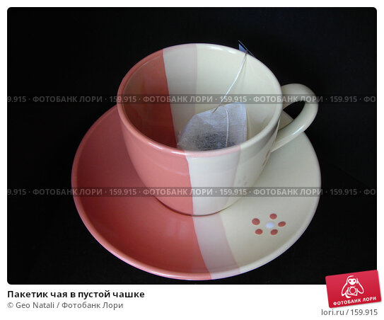 Пакетик чая в пустой чашке, фото № 159915, снято 25 декабря 2007 г. (c) Geo Natali / Фотобанк Лори