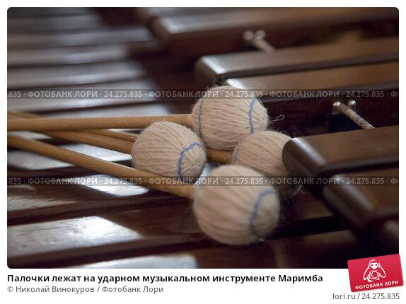 Купить «Палочки лежат на ударном музыкальном инструменте Маримба», фото № 24275835, снято 26 ноября 2016 г. (c) Николай Винокуров / Фотобанк Лори