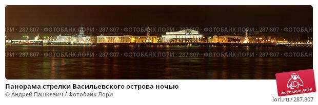 Панорама стрелки Васильевского острова ночью, фото № 287807, снято 29 апреля 2017 г. (c) Андрей Пашкевич / Фотобанк Лори