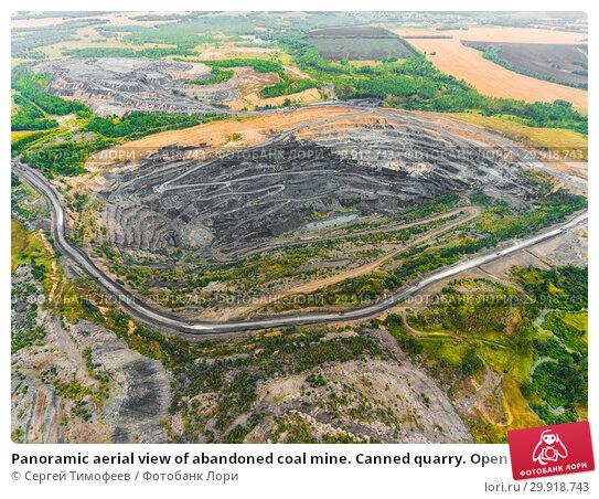 Купить «Panoramic aerial view of abandoned coal mine. Canned quarry. Open coal mining, Antarcite mining», фото № 29918743, снято 3 сентября 2018 г. (c) Сергей Тимофеев / Фотобанк Лори