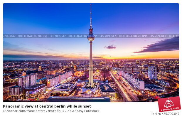 Panoramic view at central berlin while sunset. Стоковое фото, фотограф Zoonar.com/frank peters / easy Fotostock / Фотобанк Лори